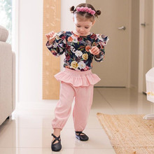 Newborn Baby Girl Clothes Floral Top With Batwing Sleeve And Pink Ruffle Pants Outfits Kids' Clothing Sets ruffle detail bell sleeve floral top