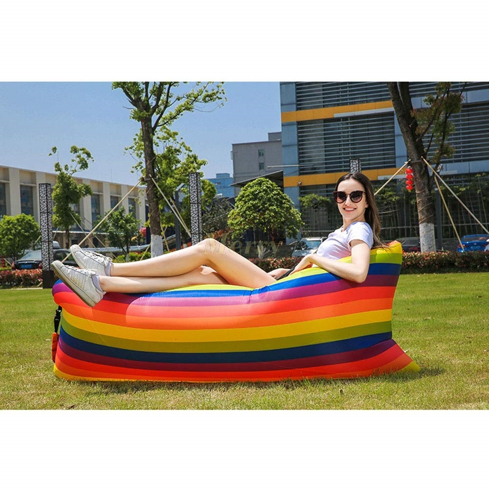 Inflatable Sofa Lazy Bag Camping Travel Outdoor Ultralight Sleeping Bags Air Bed Adult Beach Lounge Chair Fast Folding