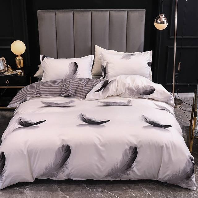 Duvet Cover And Pillow Case Elegant Feather