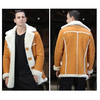 SANI 2019 New Thicken Soft Shearling Fur Yellow Couple Matching Clothing Real Sheepskin Fur Shearling Men Winter Warm Jackets 2
