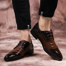 Big Size 47 48 Men leather Dress Shoes Wedding Mens Formal Shoes Men Classic Brown Black Oxford Homens Top Quality Lace-up Flats(China)