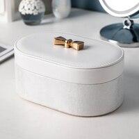 Brand Women Jewelry Box European White Watch Bangles Necklce Ring Display Storage Case WIth Mirror Jewel Makeup Lipstick Case