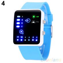 Casual Men Binary System LED Square Dial Silicone Band Quartz Wrist Watch orolog
