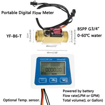 Cyfrowy miernik przepływu US211M Lite i YF-B6-T 2-30L min 5V czytnik przepływu kompatybilny efekt halla czujnik przepływu wody z temperaturą tanie i dobre opinie Ultisolar CN (pochodzenie) Hydraulika US211M Lite-YF-B6T 1-30 Mężczyzna BSPP Gwint 3 4