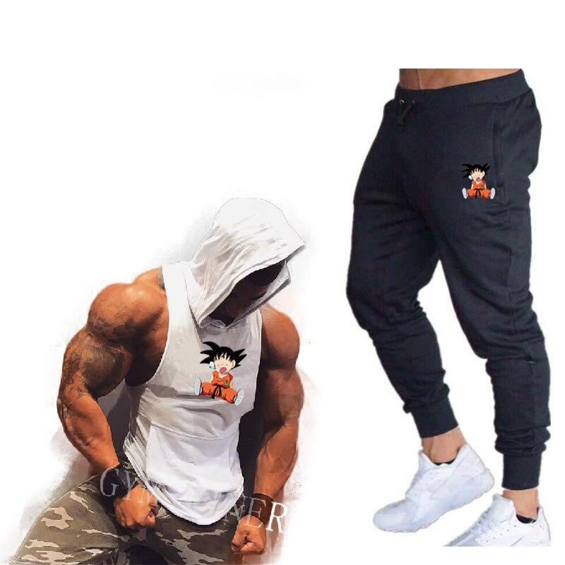2020 Summer New Men's Hooded Vest Casual Suits Men's Clothing Man Sets Tops+Pants Male Sweatshirt Men Brand Hooded Vest Set