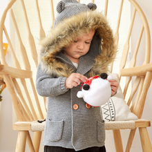 LZH Children's Clothing 2021 Autumn New Boys Hooded Fur Collar Knitted Jacket Baby Girl Long-sleeved Casual Jacket 0-3 Years Old