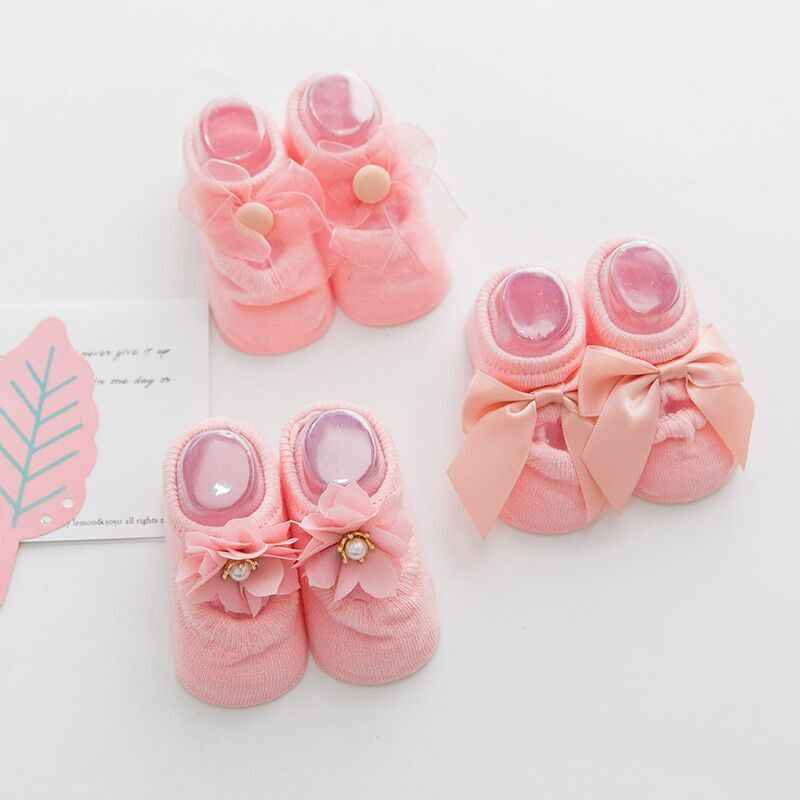 MAYA STEPAN 1 Pair Cotton Spring Newborn Baby Girls Kids Socks Flower Bowknot Lace Non-slip Summer Sock Gift Stuff Children