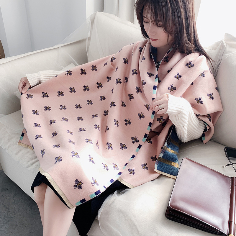 2020 Luxury Cashmere Scarf Women Beans Print Winter Scarves Pashmina Thick Shawls Wraps Knitted Female Bufandas Warm Blanket