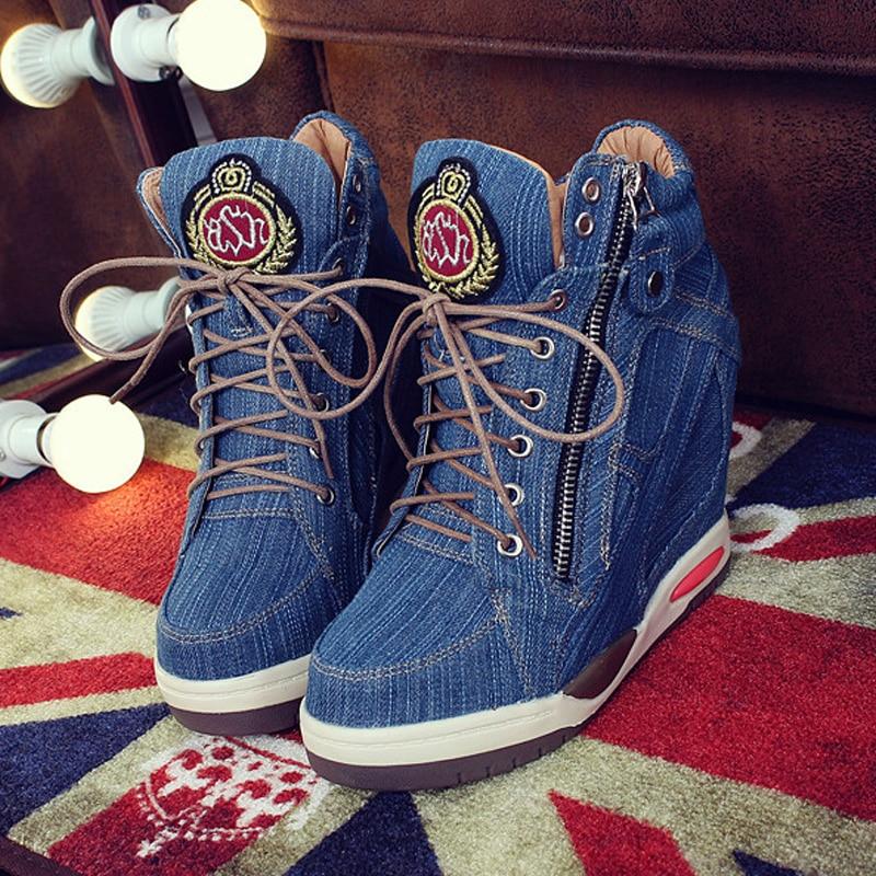 Big Size Women Denim Wedges Sneakers Autumn Platform Casual Shoes Fashion Woman Side Zipper Vulcanized Shoe Thick Bottom Sneaker 2