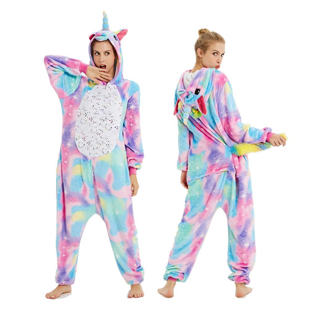 Pink Unicorn Pajamas Flannel Animal Kigurumi Pajamas Winter Nightie Stitch Unicornio Sleepwear For Women Men Adults Pigama