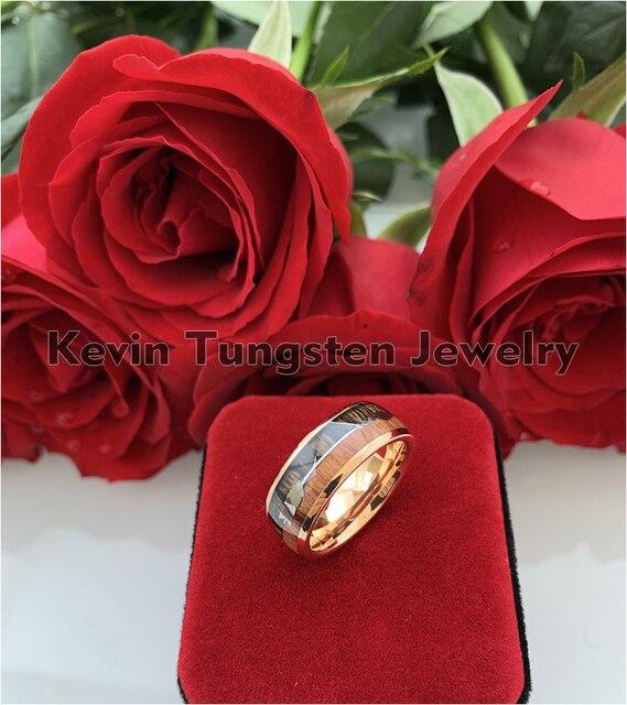Обручальное кольцо из вольфрама цвета розового золота для мужчин