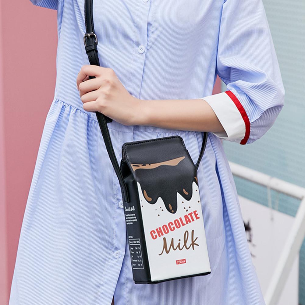 Portable Women Funny Milk Box Shape Shoulder Bag Phone  Crossbody Pouch Female Crossbody Bag Daily Shoulder Bag Ladies Bags
