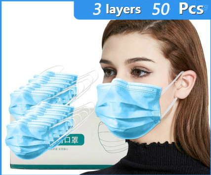 50 Pcs  3 Layers Disposable Protective Face Mouth Masks Unisex Prevent Anti Virus Bacteria Safety Mask