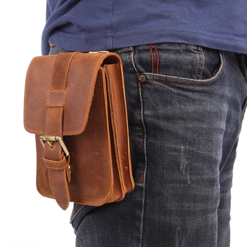 MISFITS Leather Men's Pocket Travel Small Pocket Belt Mobile Phone Bag Retro Mountaineering Bag