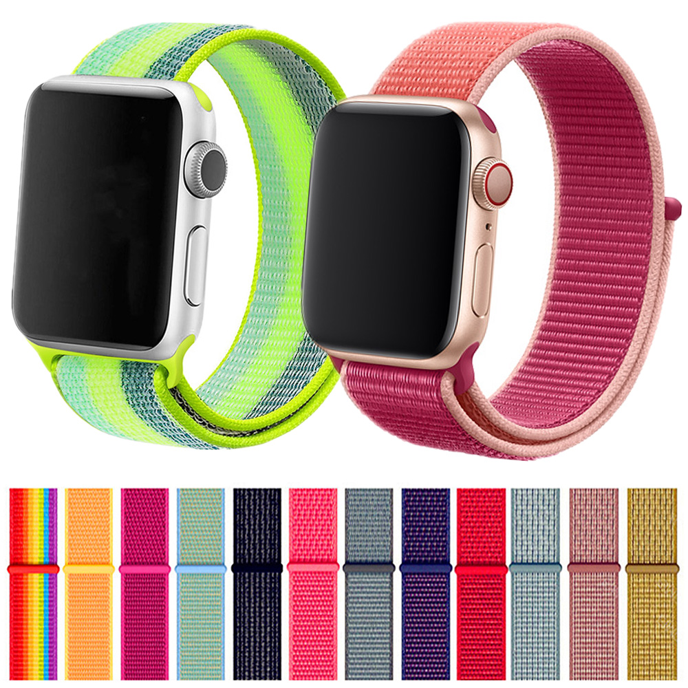 WatchBand For Apple Watch 4 Series 5 4 3 Soft Lightweight Breathable Nylon Sport Strap Wristband 38mm 42mm 40mm 44mm Watchbands