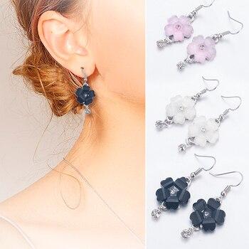 Women Flower Petals Rhinestone Dangle Drop Hook Cute Earrings Jewelry minimalist earrings joias de alto luxury damen ohrringe 1
