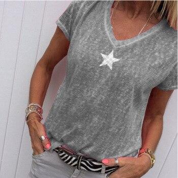 2021 Summer T Shirt Women Casual V-Neck T-shirts Female Short Sleeve Tops For Girls Grey Solid Top Femme Tee Shirt Femme 1