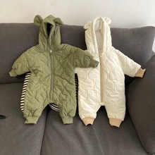 Baby Winter Romper 2020 Boys Girls Solid Autumn Hooded Warm And Loose Jumpsuit Baby Outdoor Palysuit Rompers 0-24 M