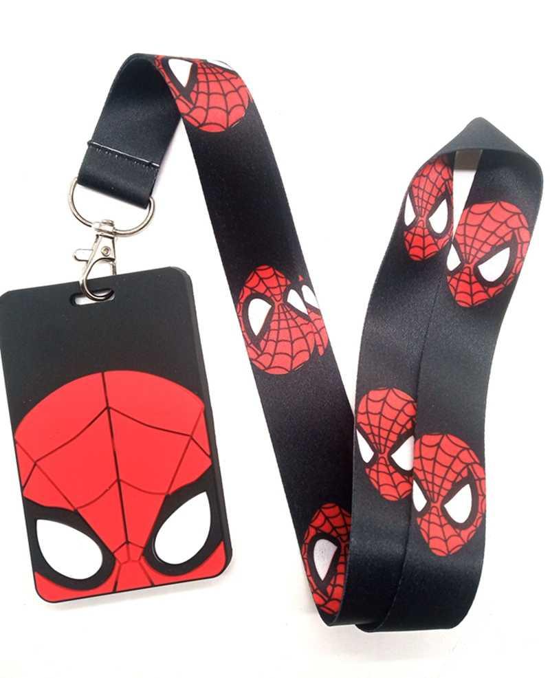 Hot 1 sztuk cartoon superheros spiderman batman iron man smycz smycz do kluczy Cosplay odznaka ID etui na karty paski na szyję Keyrchains