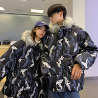 Men's Warm Cotton-Padded Jacket Flying Crane Print Couples Winter Parka Fur Collar Windbreaker Hooded Thick Coat Casual Anorak 1