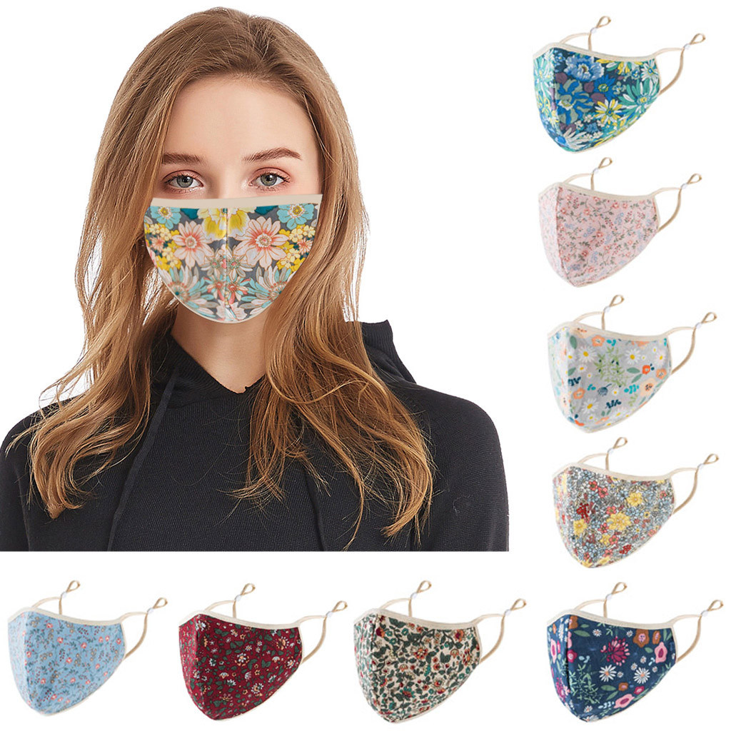 Adult Floral Print Adjustable Safet Washable Cotton Mouth Face Maske Women Men Anti Fog Dust Haze Maske Respirator Reusable