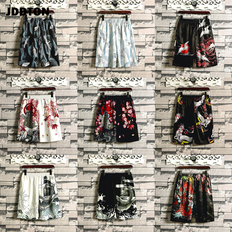 JDDTON Summer Men's Beach Shorts Japanese Style Loose Samurai Casual Homme Knee Length Shorts Comfortable Male Streetwear JE419