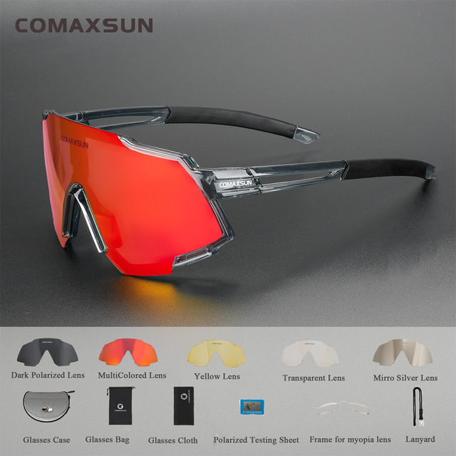 COMAXSUN Polarized Sports Sunglasses with 5 Interchangeable Lenses Mens Womens Cycling Glasses Running Fishing Golf Driving Sung