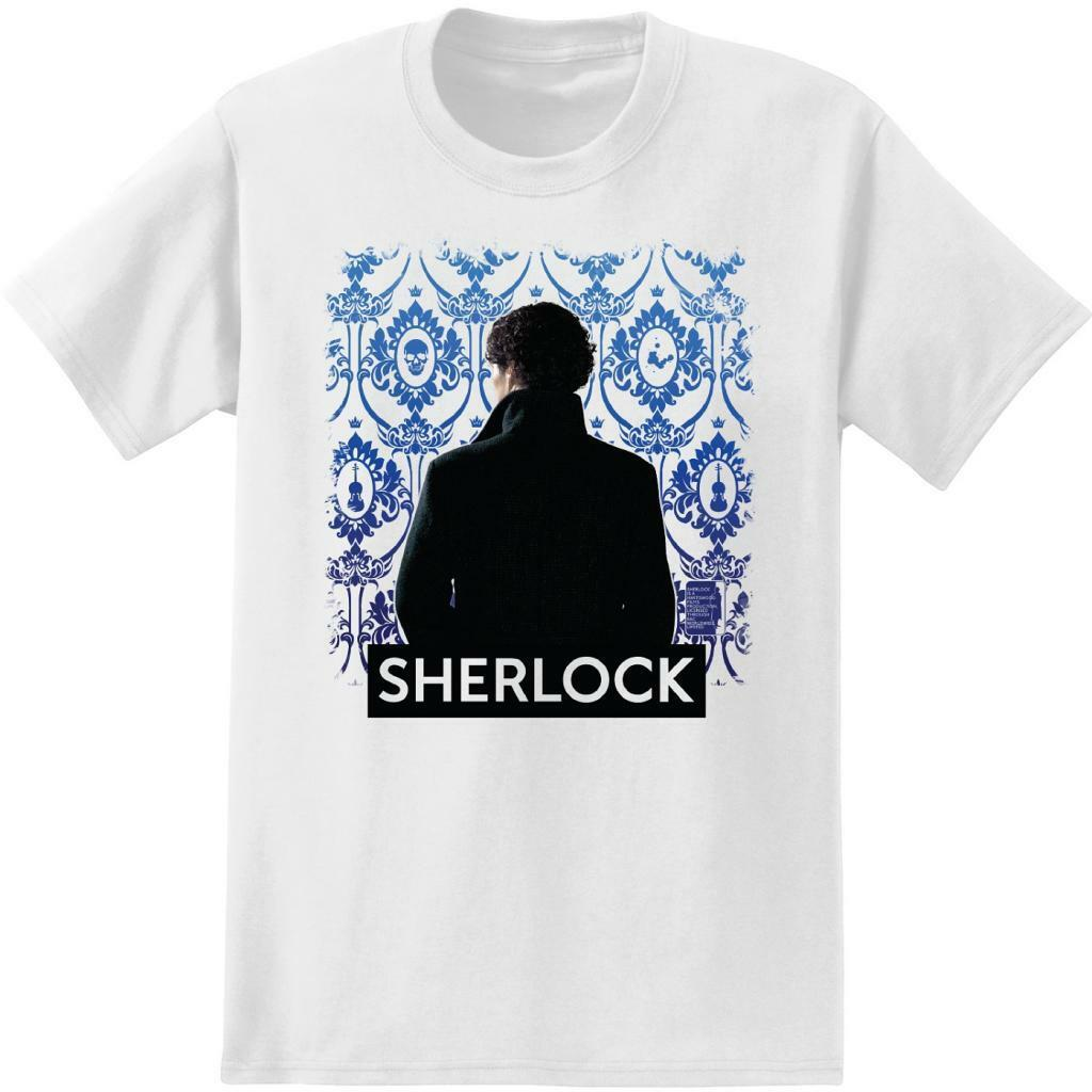 Adult White Detective Tv Show Sherlock Holmes Wallpaper Background T-Shirt Tee Adult Summer Streewear Size:S-3Xl image
