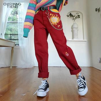 Damskie spodnie na co dzień słońce drukuj proste spodnie czerwone Streetwear długie spodnie Harem spodnie damskie wysokiej talii spodnie damskie w stylu Vintage tanie i dobre opinie Charmingtrend COTTON Poliester spandex Pełnej długości CN (pochodzenie) SPKR0YXPR0T Stałe Mieszkanie REGULAR Osób w wieku 18-35 lat