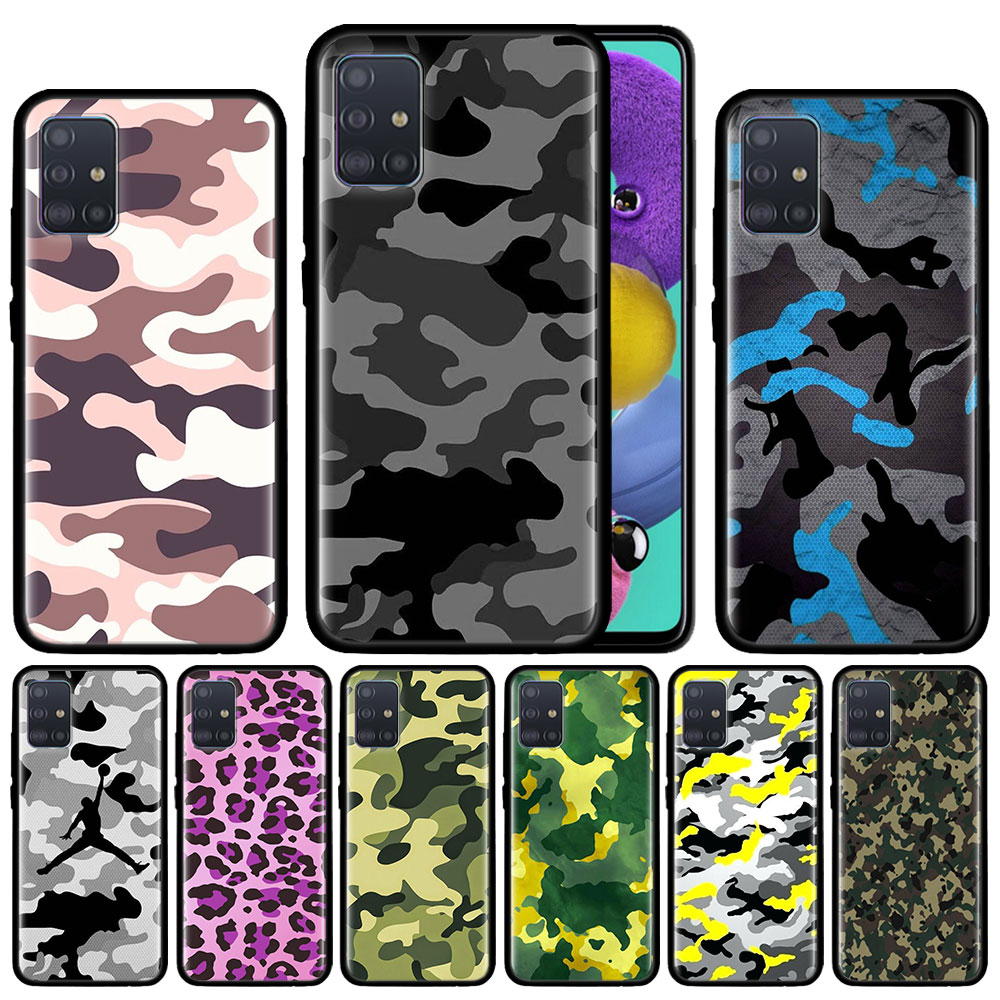 Camouflage Pattern Camo Military Army Case For Samsung Galaxy A51 A71 A01 A81 A91 A50 A70 A70s M31 Black Silicone Phone Cover Fu