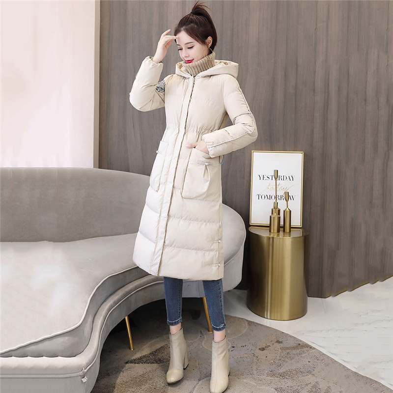 Retro Slim Down Cotton Women 2019 Autumn And Winter New Medium In Long Jacket Wild Casual Popular Hong Kong Style Cotton Coat568