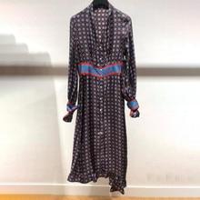 Geometric Print Vintage Women Loose Dress Hit Color Long Sle