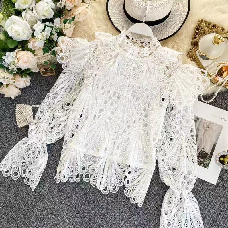 High Quality  Spring Flare Sleeve Turtleneck  White Lace Hollow Out Embroidery Blouse Women Ruffles Shirt Women Fashion Clothes