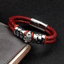 Bracelet Pop en acier inoxydable 316 pour hommes et femmes, Style bohémien, accessoires de tête fantôme, cuir de vin tissé, livraison sous 7 jours