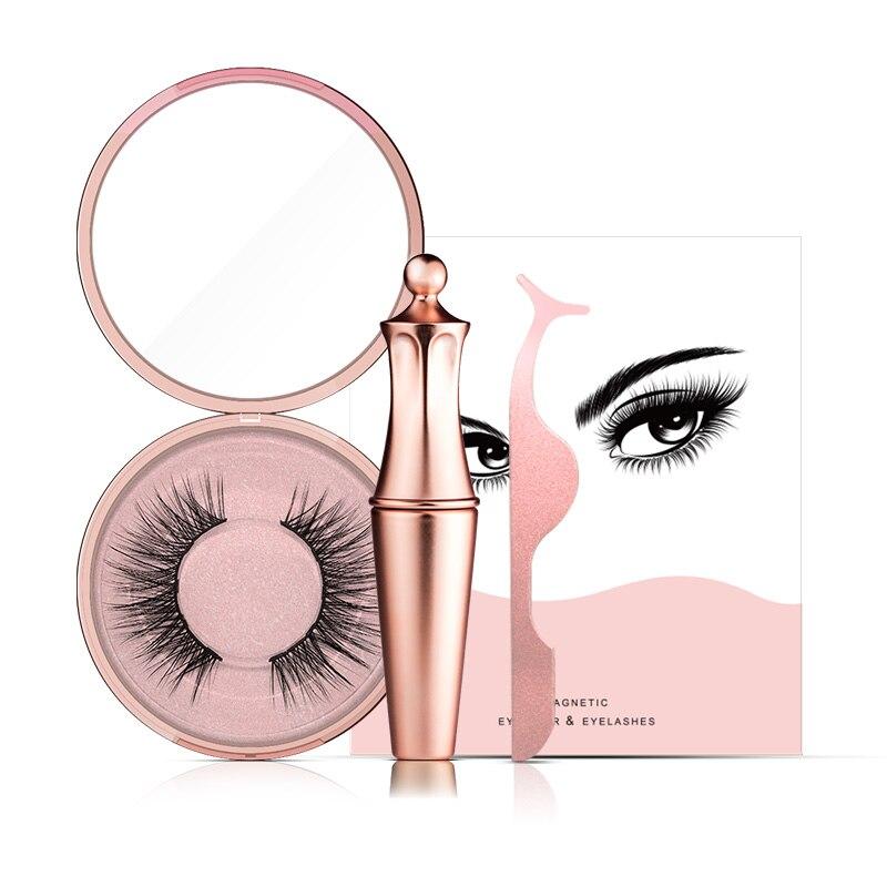 Magnetische Flüssigkeit Eyeliner & Magnetische Falsche Wimpern & Pinzette Set Falszywy Zestaw Rzes Valse Wimper Set Make-Up Eyeliner Mascara