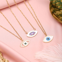 2020 Summer Fashion Minimal Colorful Rhinestone Filled Dripping Evil Eye Pendant Necklaces For Ladies Women's Gold Necklace