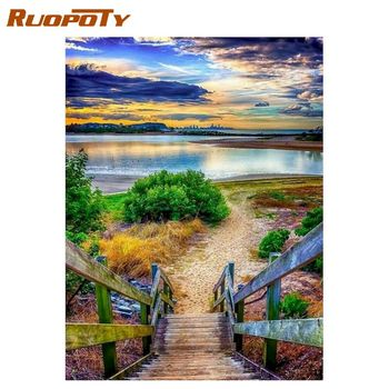 RUOPOTY  Frame Diy Painting By Numbers Tree Landscape Coloring By Numbers Handpainted Acrylic Canvas Paint Diy Arts