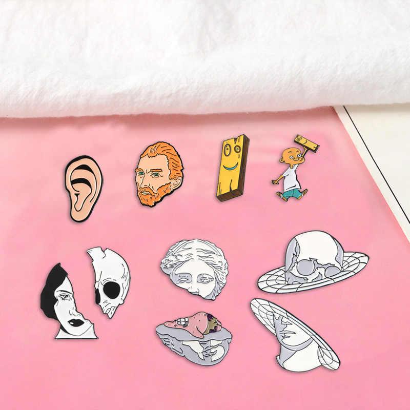 2 Pcs Enamel Pin Van Gogh Papan Ed Edd Eddy Punk Wanita Wajah Bros Bintang Laut Patung Kerah Pin Lencana Pakaian tas Hadiah Perhiasan