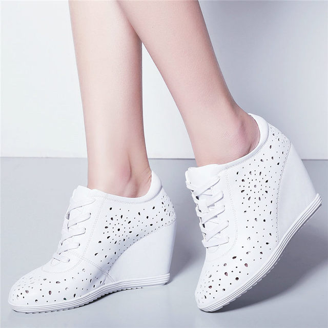Trainers Women Breathable Genuine Leather Wedges High Heel Pumps Shoes Female Lace Up Summer Platform Ankle Boots Casual Shoes