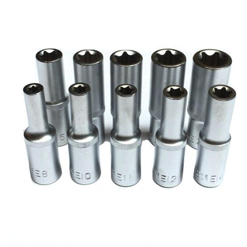 """Conjunto de tomada torx estrela 1/4 """", uma peça, tipo e8 e10 e11 e12 e14 e16 e18 e20 e22 e24 ferramentas de reparo automático 78mm"""