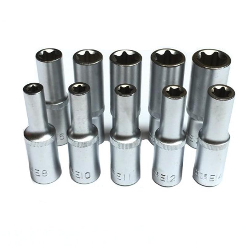 Набор удлиненных звездочек Torx, комплект из одного гнезда 1/2 дюйма, тип E, E8, E10, E11, E12, E14, E16, E18, E20, E22, E24, инструменты для ремонта автомобилей, 78 мм