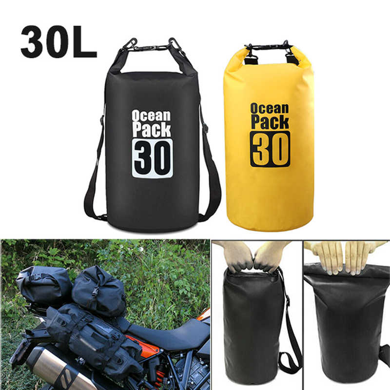 Black 30L PVC Waterproof Dry Bag Camping Sack Motorcycle Foldable Shoulder Bag