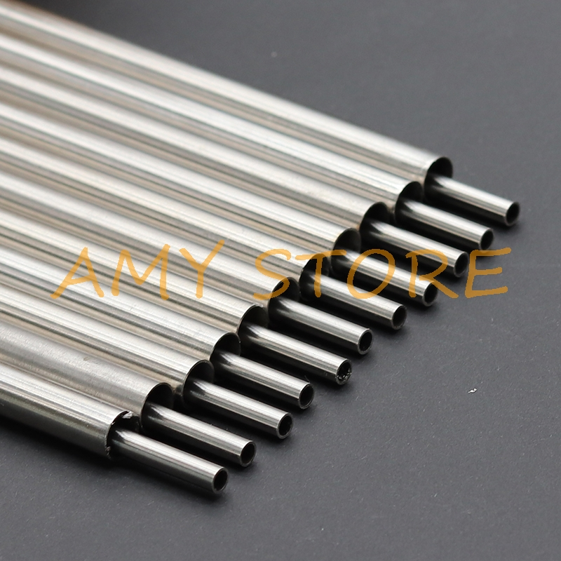 Silver Round 304 Stainless Steel Capillary Tube Pipe OD 0.5 1 2 3 4 5 6 7 8 9 10 11 12 13mm Length 250mm Hollow Circular Tube