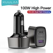 KUULAA – chargeur de voiture 100W USB type-c double Port PD QC, Charge rapide 4.0 3.0, pour téléphone portable, iPhone 12, Samsung