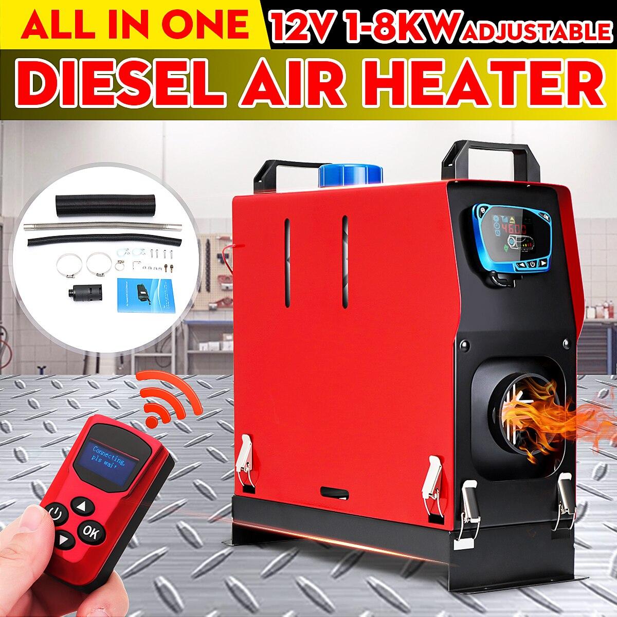 Tout en un 12V 1KW-8KW Air diesels chauffage un trou voiture chauffage pour camions camping-cars bateaux Bus + LCD interrupteur à clé + anglais à distance