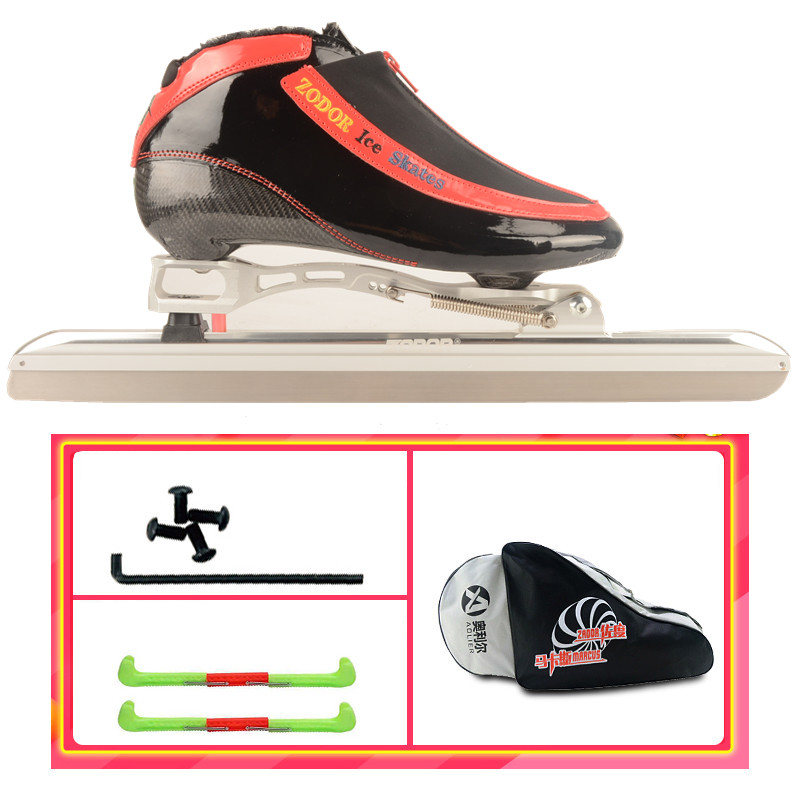 2019 ZODOR Professional Dislocated Heel Tail Ice Skates 6-layer Carbon Fibre Inline Speed Skating Ice Blade 430mm Knife 62-64