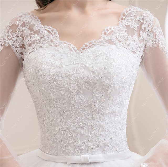 Wedding Dress 2021 New Luxury Full Sleeve Sexy V-neck Bride Dress With Train Ball Gown Princess Classic Wedding Gowns 4