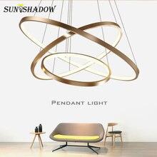 Luminária pendente em círculo led, 9/6/5/4/3 anéis moderno, montagem no teto lâmpadas penduradas da cozinha, quarto, sala de jantar