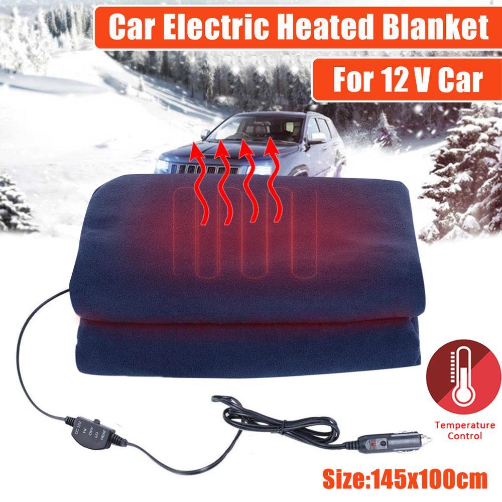 12 В Автомобильное одеяло с подогревом, флисовое универсальное одеяло с электрическим подогревом для зимы, для кемпинга, путешествий, электр...