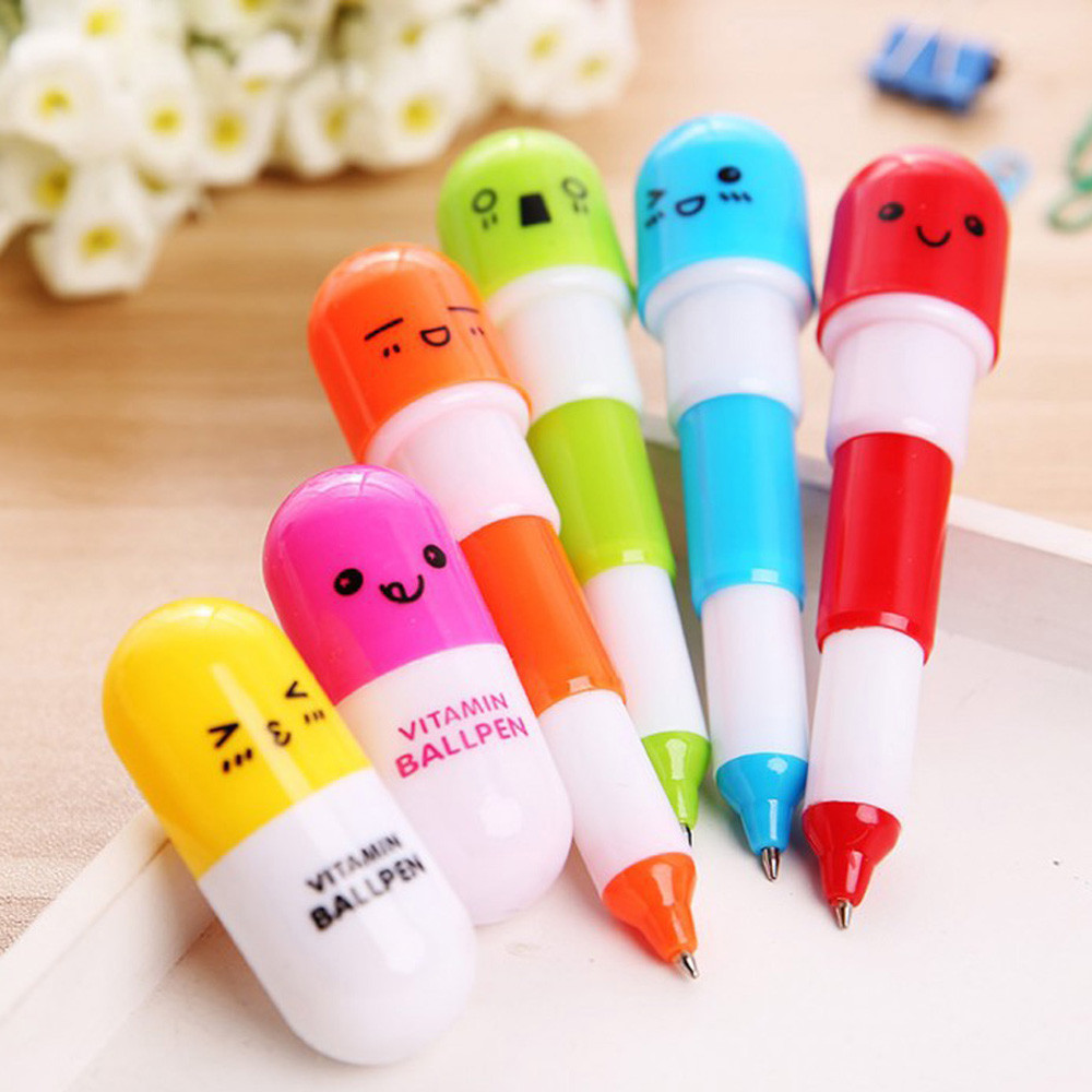 Creative Pill Ballpoint Pen Cute Learning Stationery Student Prize School Office Writing Pen Stationery Tool Supplies
